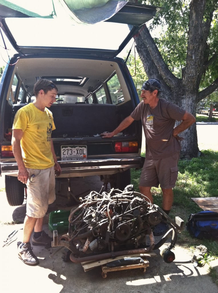 Tim's Dad was a huge help in pulling the VW engine and putting the Subaru engine in...all in one long day.