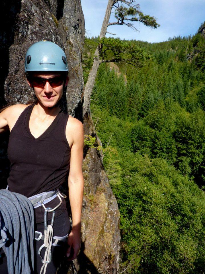 Emily belaying at Cheakamus Canyon