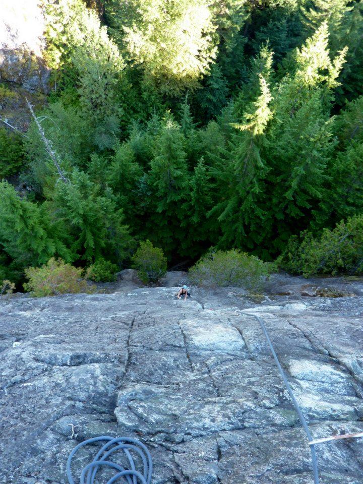 Emily climbing at Cheakamus Canyon