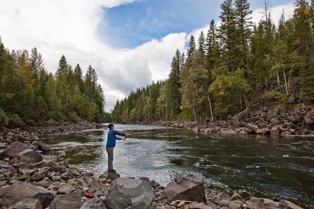Tim fly fishing on a small river in Canada, where the cutthroats were abundant.