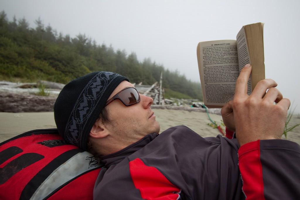 Tim stuck in his book