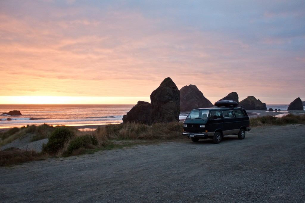 Chimera enjoying and Oregon coast sunset