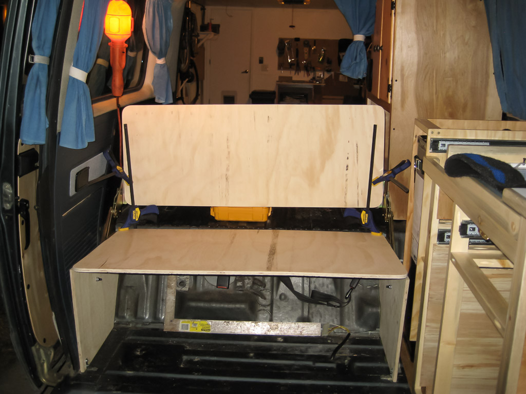 Building the new fold-down seat/bed.