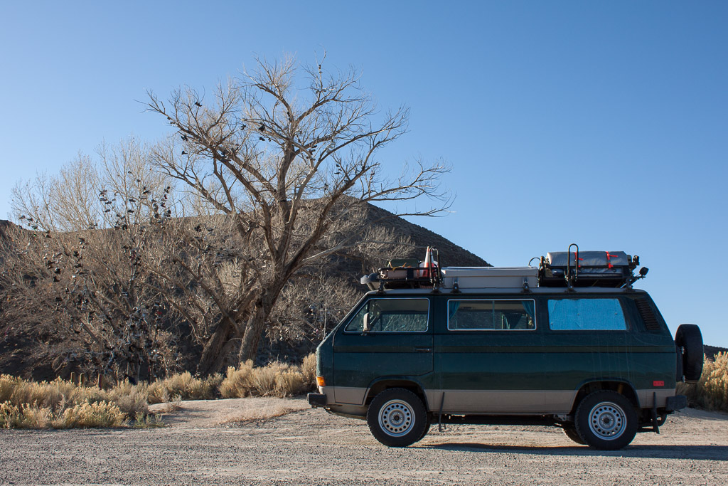 """Revisiting the shoe tree that we stopped at last time we crossed Nevada on Hwy 50 - """"The loneliest road in America""""."""