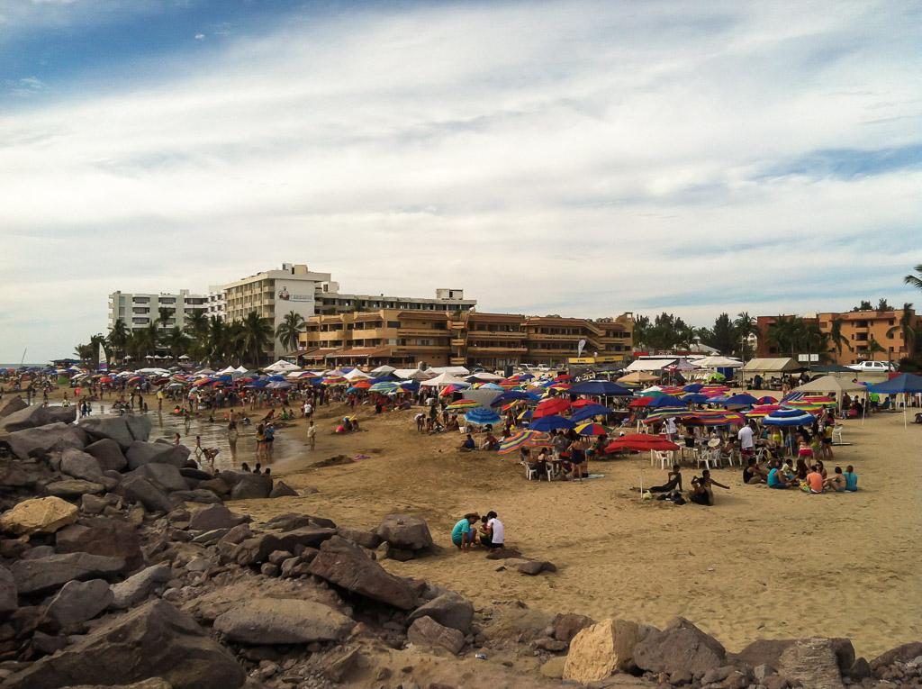 Mazatlan beach on Thursday, before it really got packed.