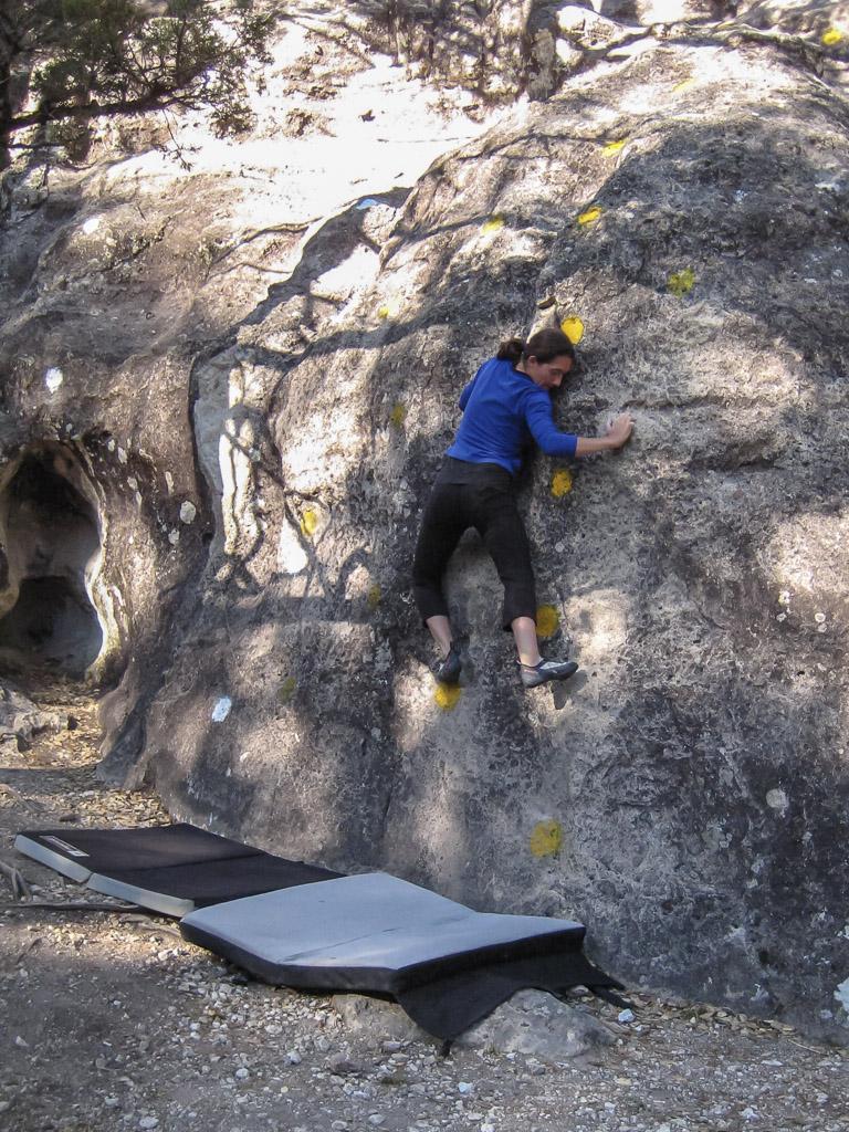 Emily bouldering.