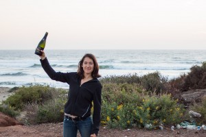 Emily celebrating.