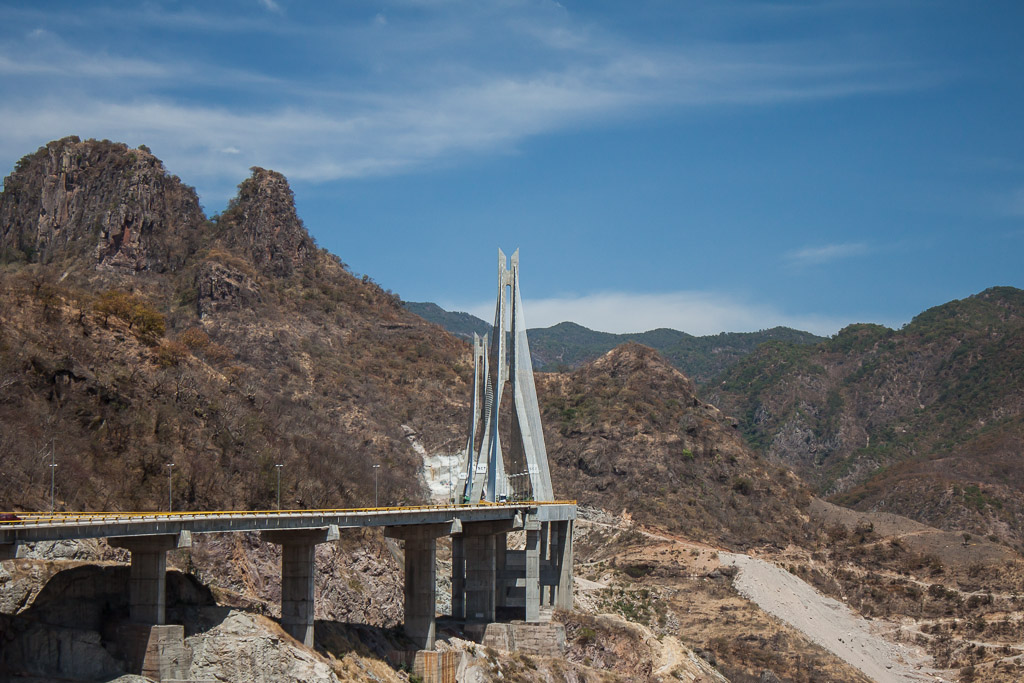 About to cross the Baluarte Bride on the Mexican Highway 40D.