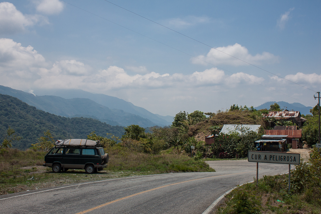 One of the many many curvas peligrosas (dangerous curves) along the Mex 175.