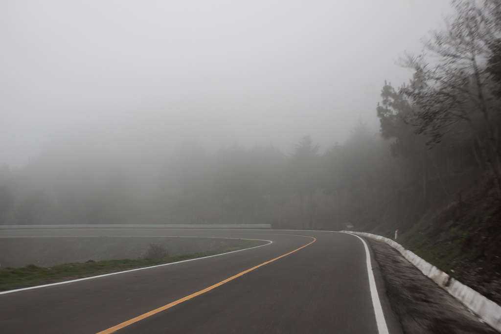 Driving into the clouds.