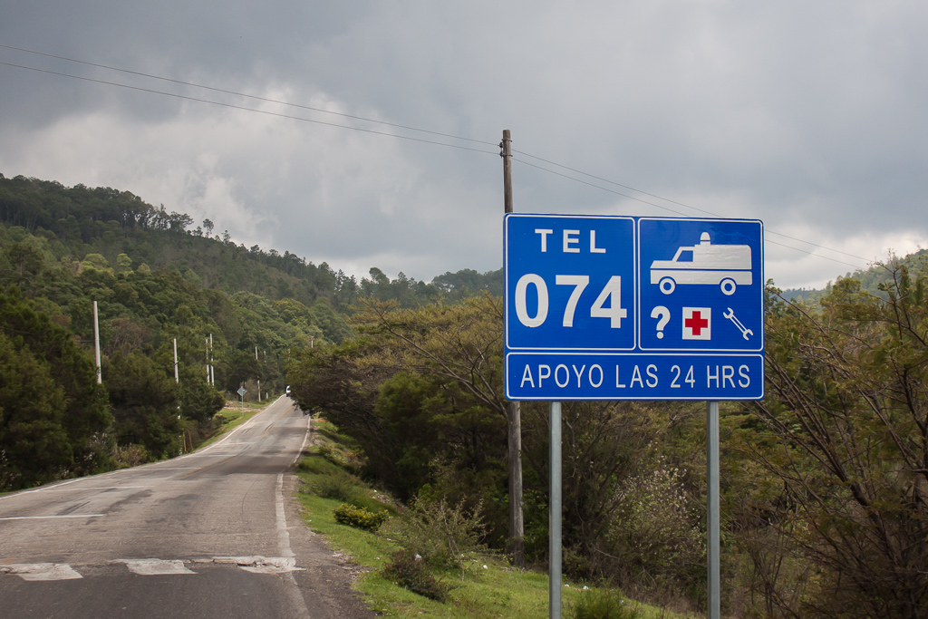 This is one of the countless signs for the awesome Green Angels, a free roadside assistance service. We've seen these signs along every highway we've driven in Mexico.
