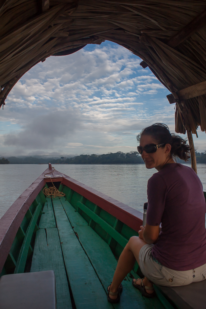 Emily in the boat on the way to Yaxchitlan.