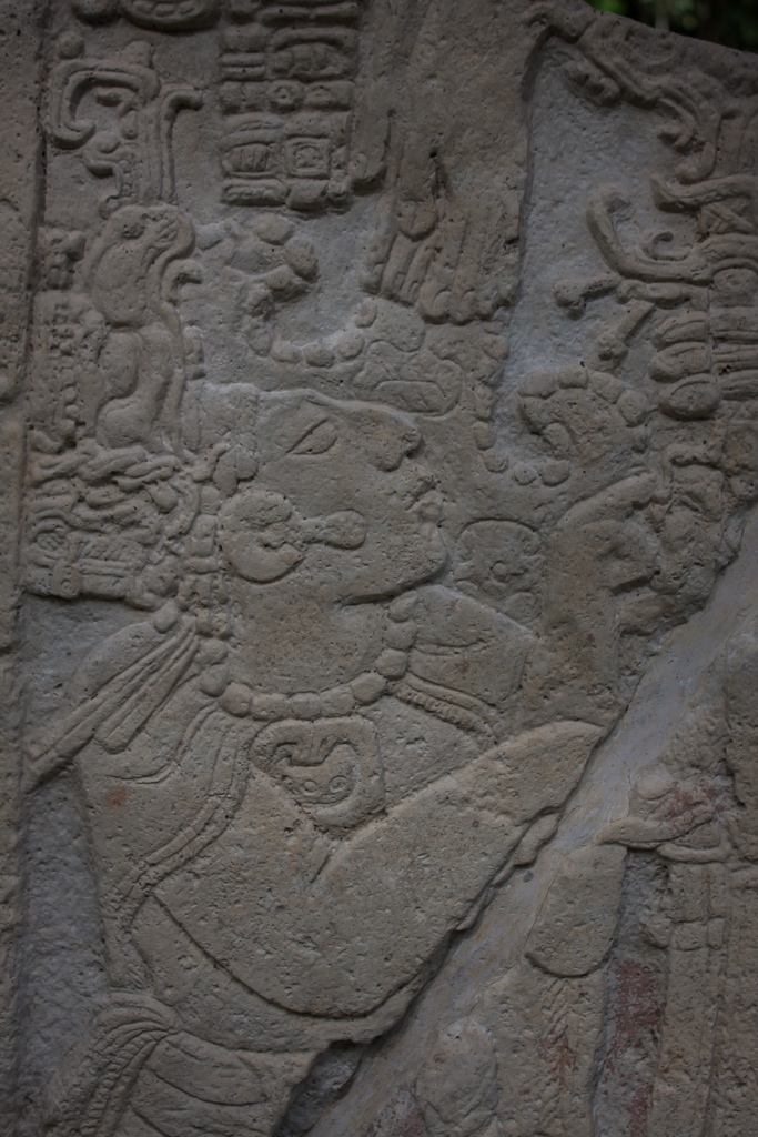 One of the many sculpted stone images at Yaxchilan.