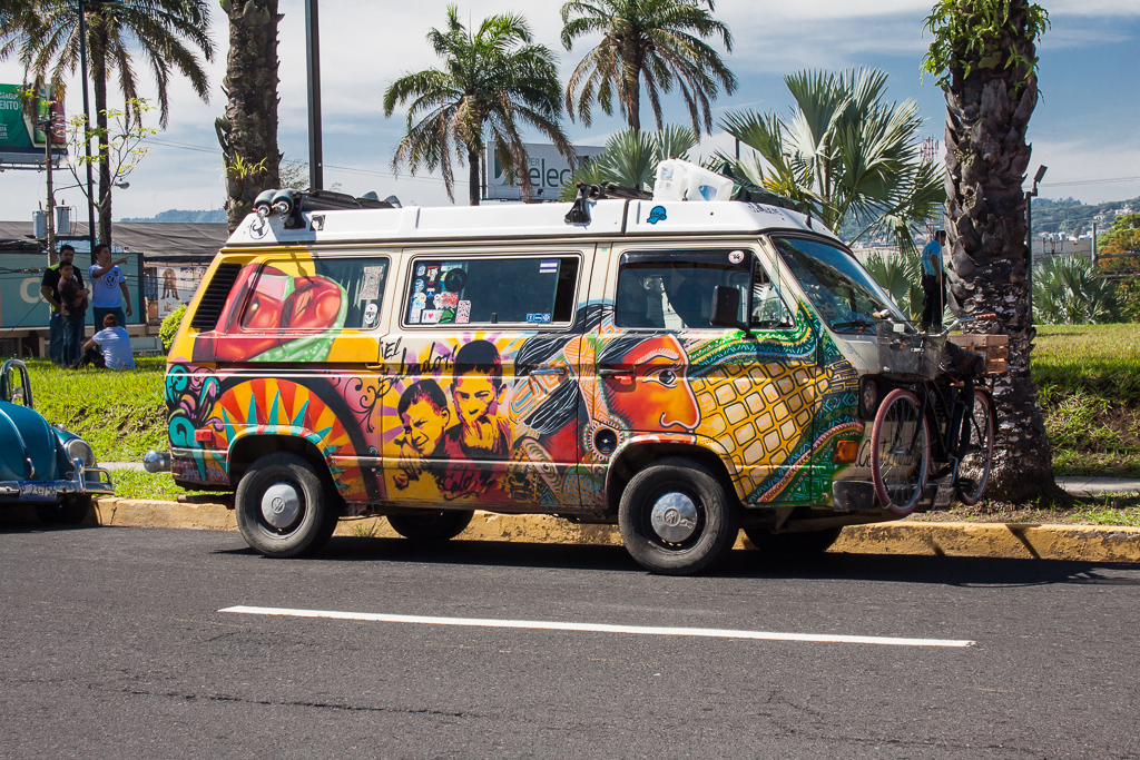 Bruno and Laura's awesome hand-painted Westy,  the only other Vanagon in the parade.