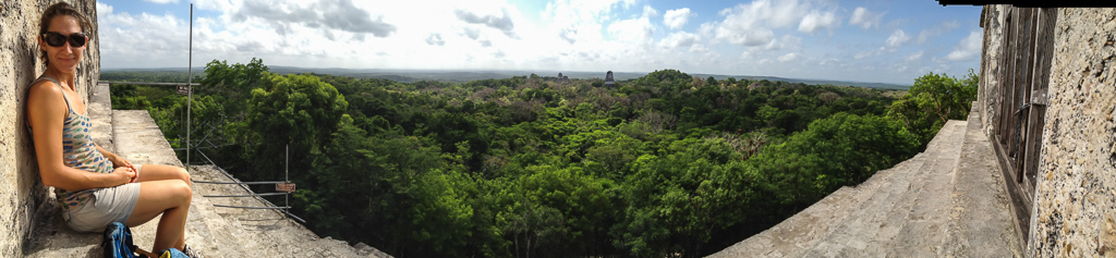 Emily on Temple IV, Tikal.
