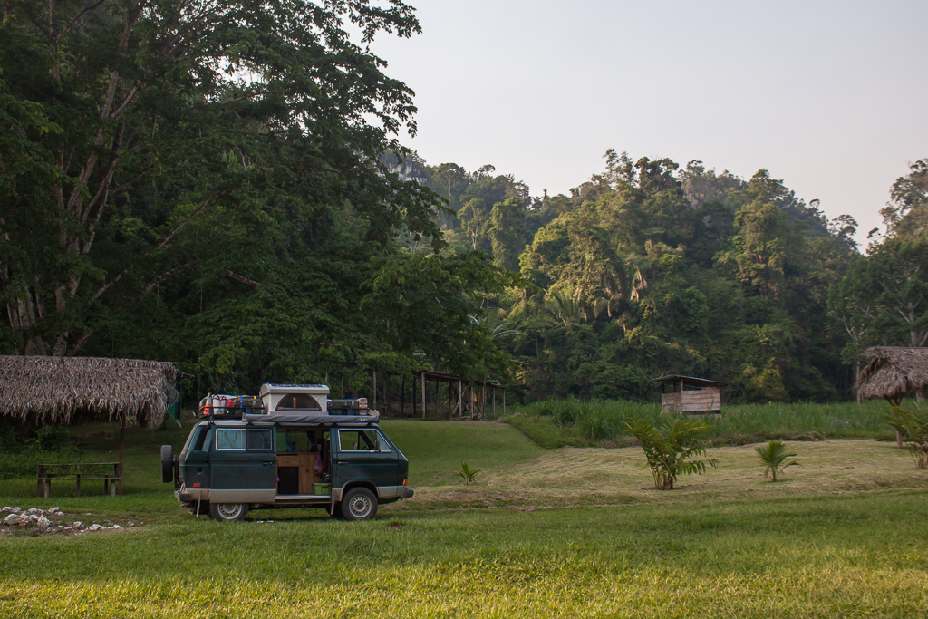 Peaceful campsite in the jungle right next to the river and caves.