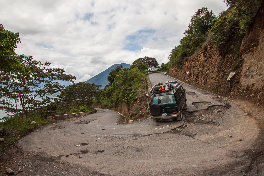 Climbing the switchbacks as we depart Lago Atitlán.