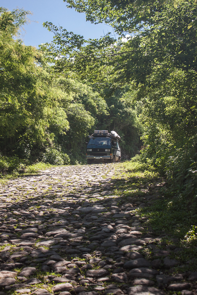 One section of the rough cobblestone road on the way up to Parque Nacional El Imposible.