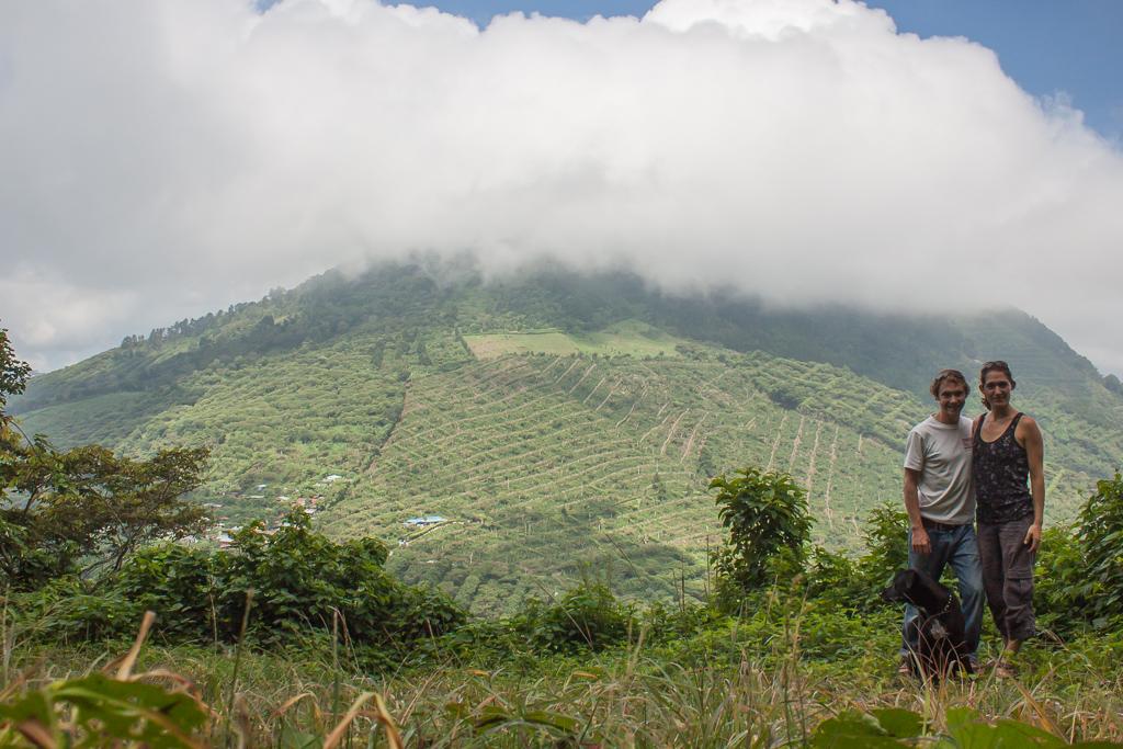 Hiking thorugh the coffee plantations at Portozuelo Park near Juayua.