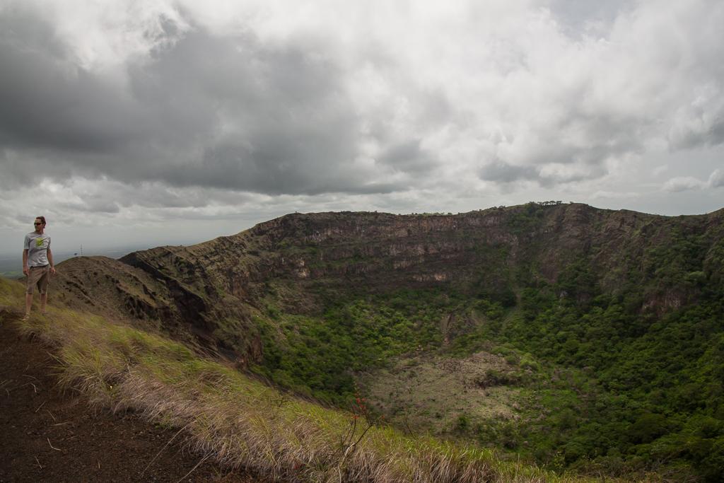 Tim striking a pose by an old caldera on Volcán Masaya.