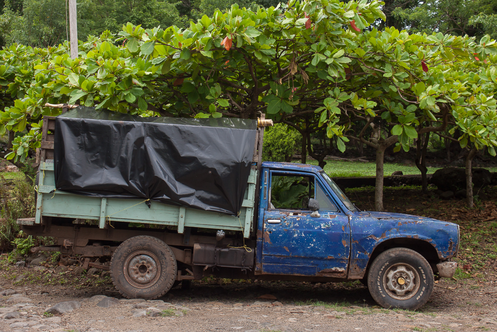 Awesome old truck at Finca Magdalena. We particularly liked the water bottle used as a gas cap.
