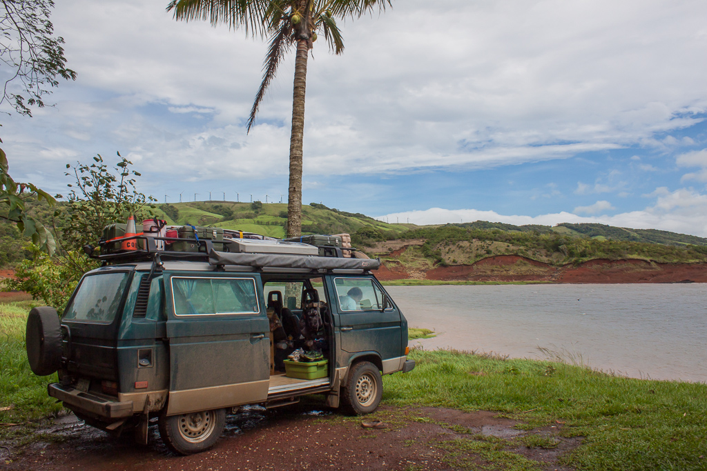 Our lovely and very windy camp spot at Lago Arenal near the microbrewery.