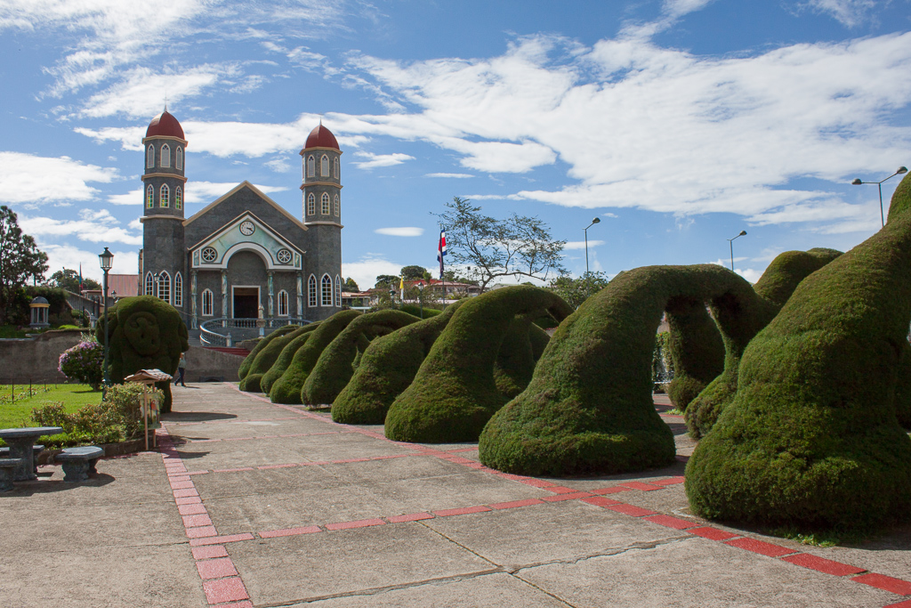 The amazing topiary gardens in the Zarcero town square.