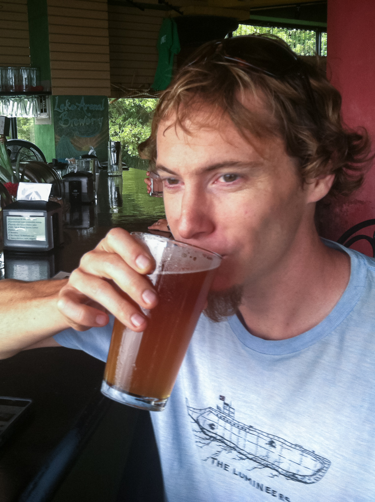 Tim enjoying a delicious pale ale at Lago Arenal Microbrewery.
