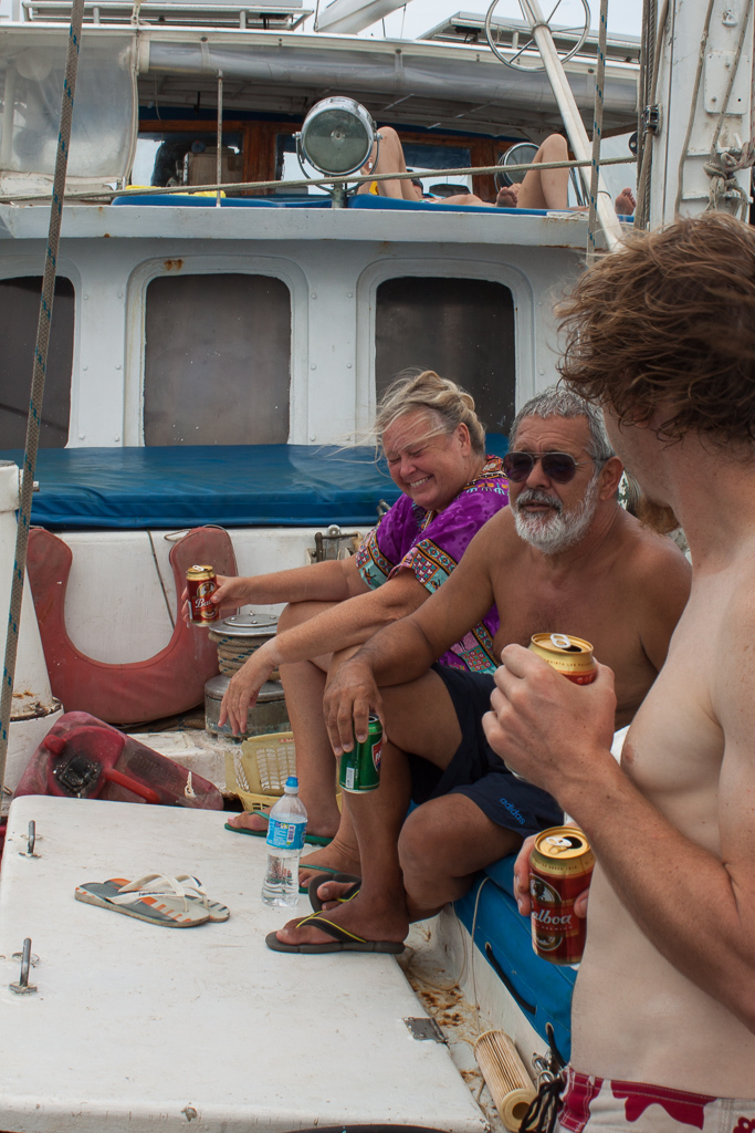 This is how we spent most of our time onboard: soaking up the sun, drinking beer, and sharing travel tales.
