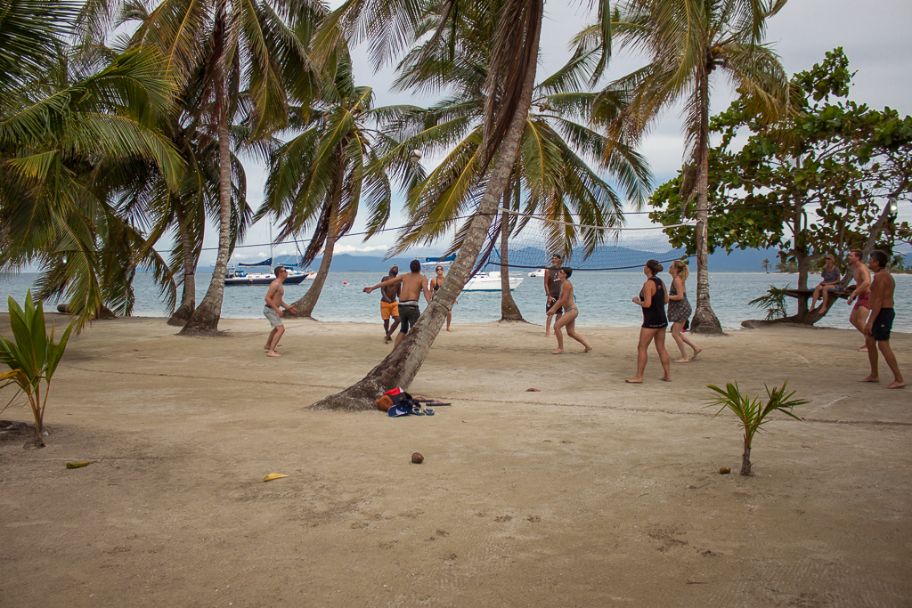 Volleyball on our first island evening.