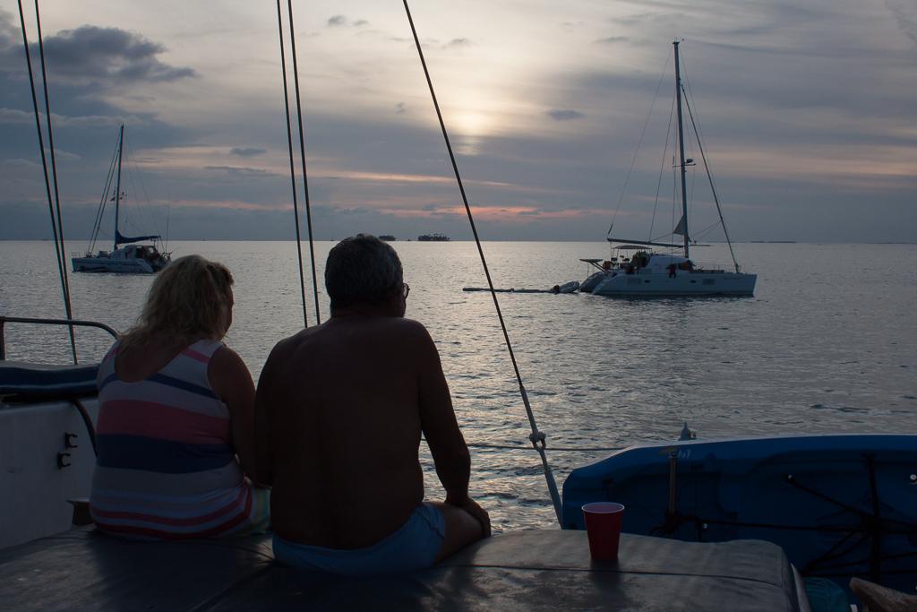 Benedicte and Edison enjoying a sunset.