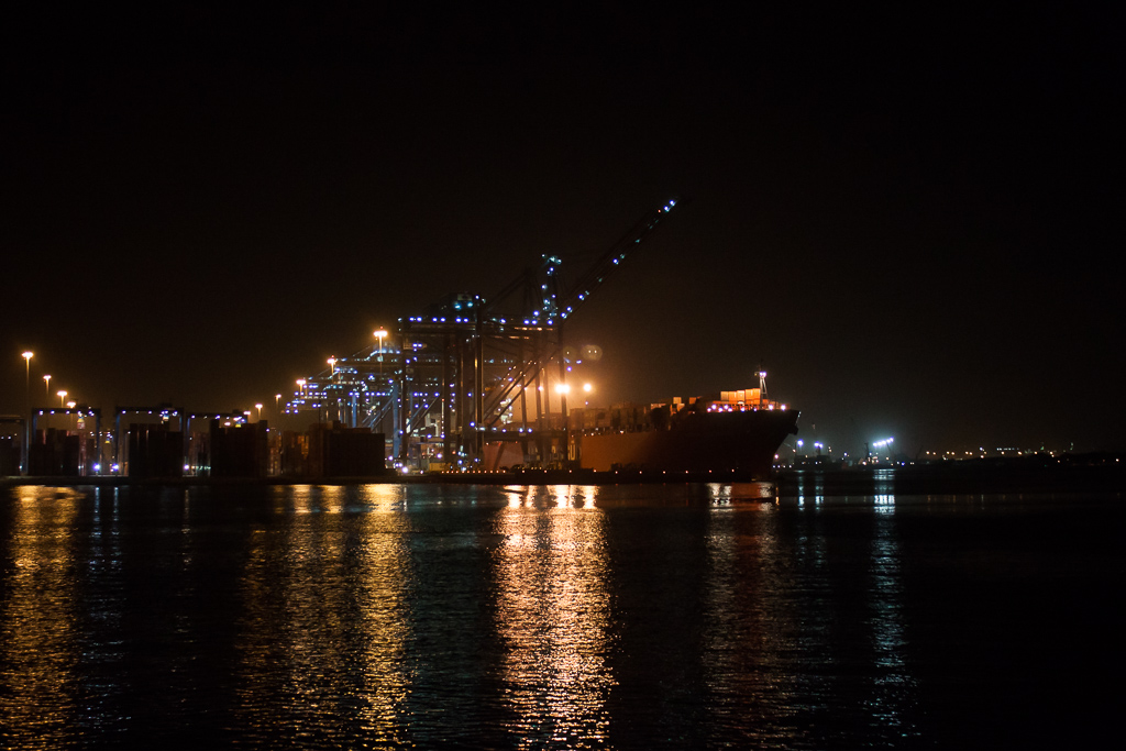 Massive cargo ships in the Cartagena harbor in the wee hours of the morning.