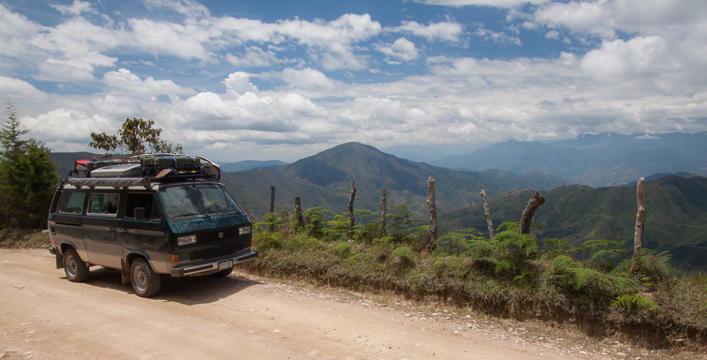 Driving through the Colombian Andes.