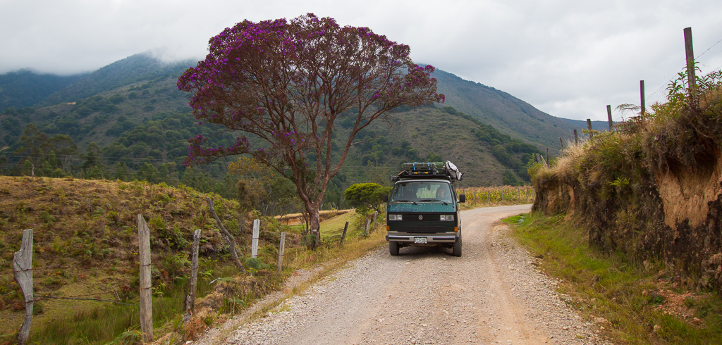 On the road in colorful Colombia.