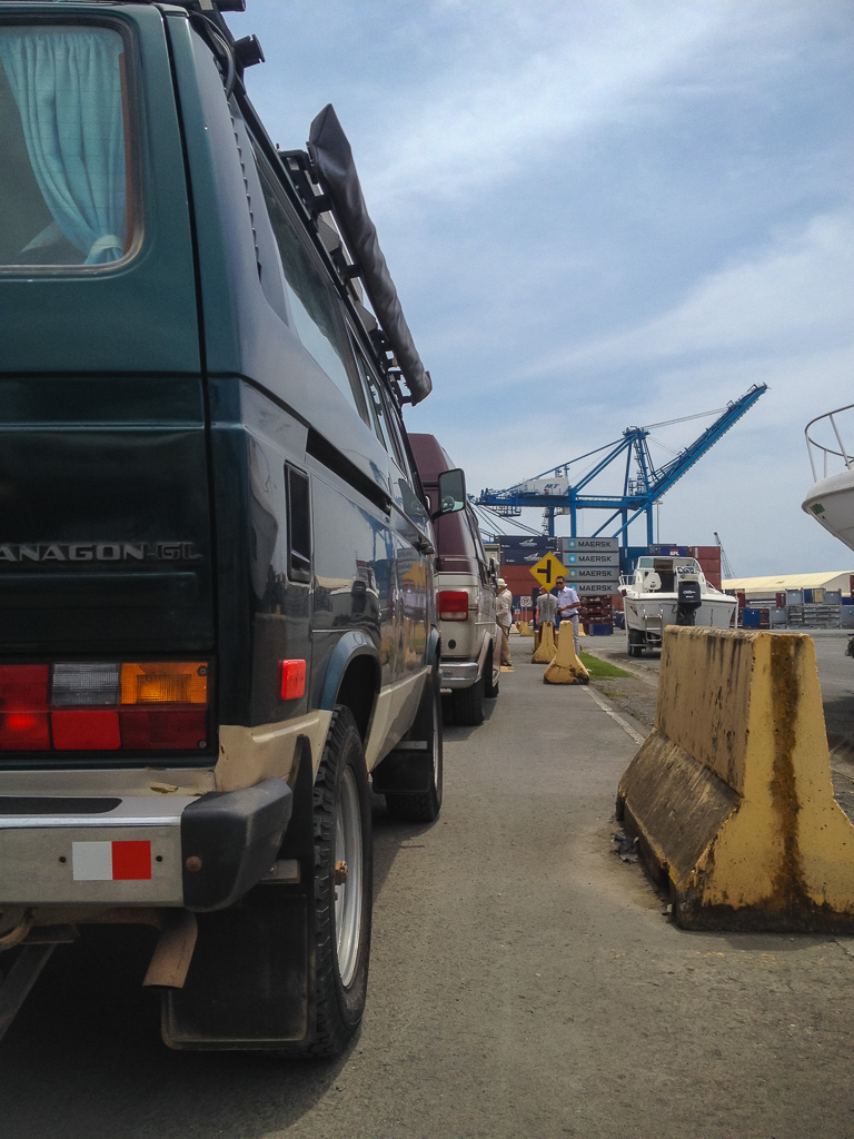 In the shipping yard.
