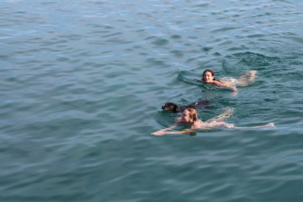 Swimming to the nearby island.