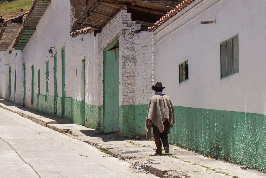 The typical dress in El Cocuy, hat and wool ruana (poncho).