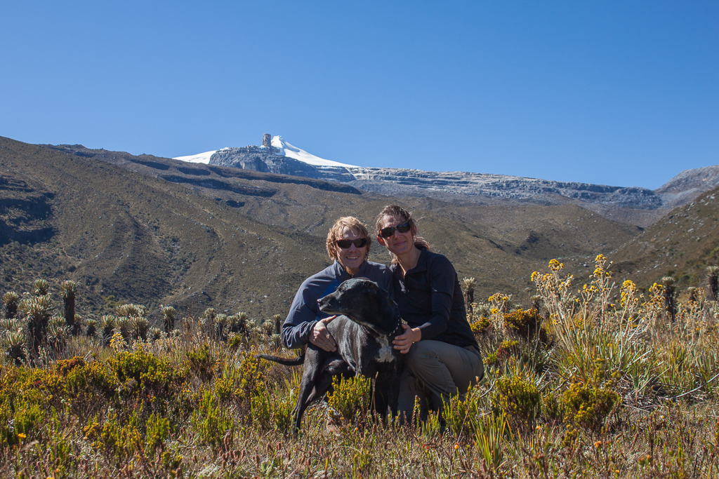Van family in the Valle de los Frailejones with El Pulpito del Diablo in the background, PNN El Cocuy.