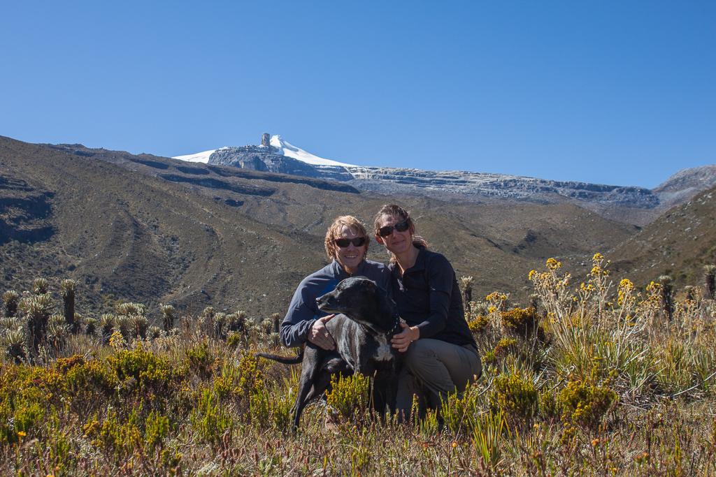 Van family in the Valle de los Frailejones with El Pulpito del Diablo in the background, PNN El Cocuy.