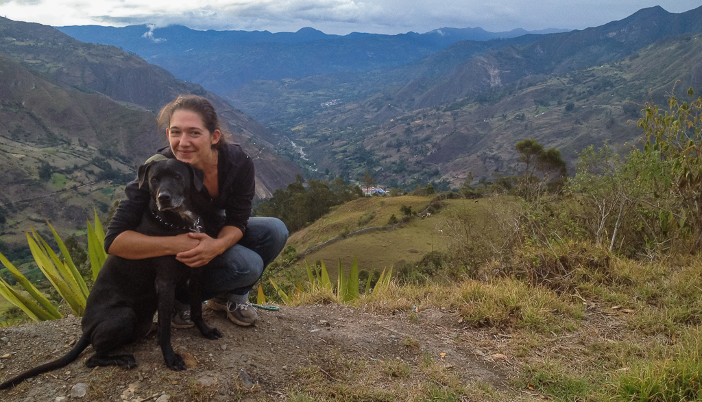 Emily and Hobie on one of our daily walks in the hills around El Cocuy.