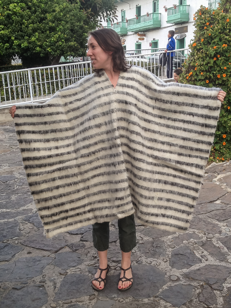 Elizabeth couldn't resist buying one of the beautiful hand-woven wool ruanas in El Cocuy.