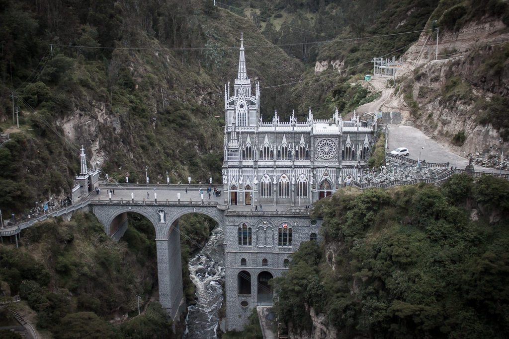 Our last stop in Colombia was at the elaborate Santuario Las Lajas, a stone's throw away from the border.