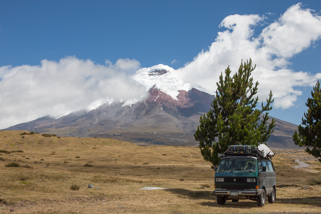 Our camp spot at the entrance to Cotopaxi National Park.