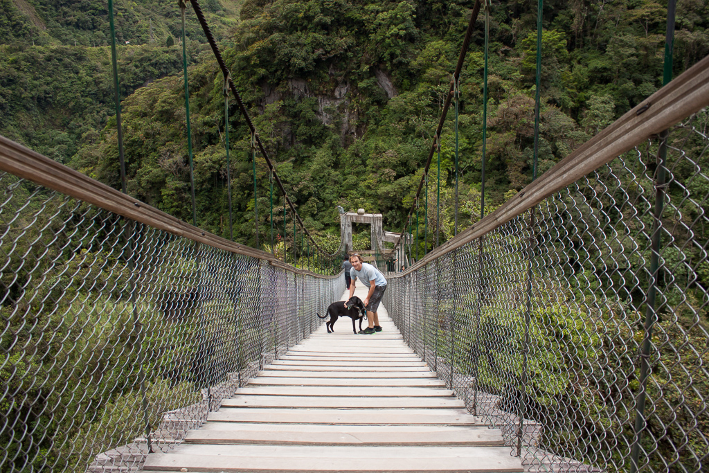 Tim and Hobie braving the suspension bridge to the waterfall.