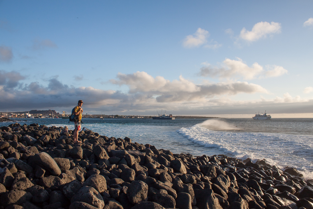 Tim checking out the surf break off the point on San Cristobal.