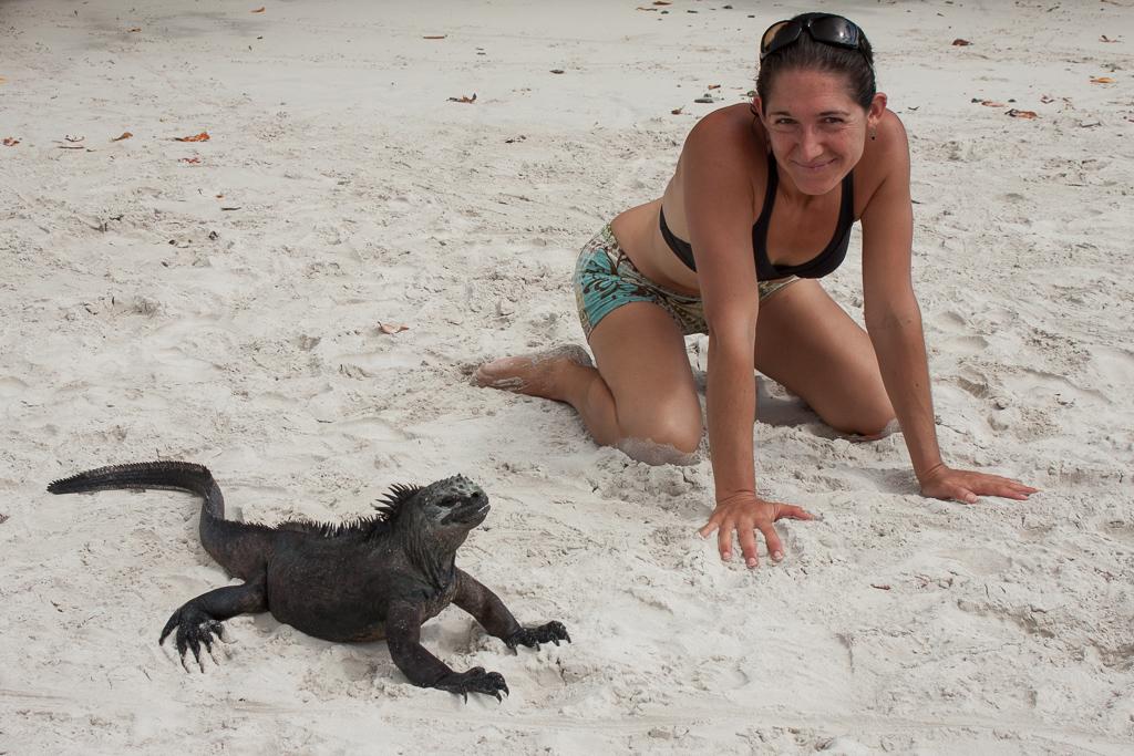 Emily doing the marine iguana pose.