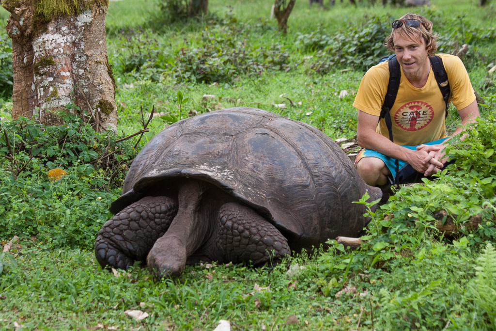 Tim and a hungry tortoise.