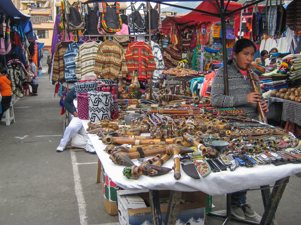 The colorful market in Otavalo.