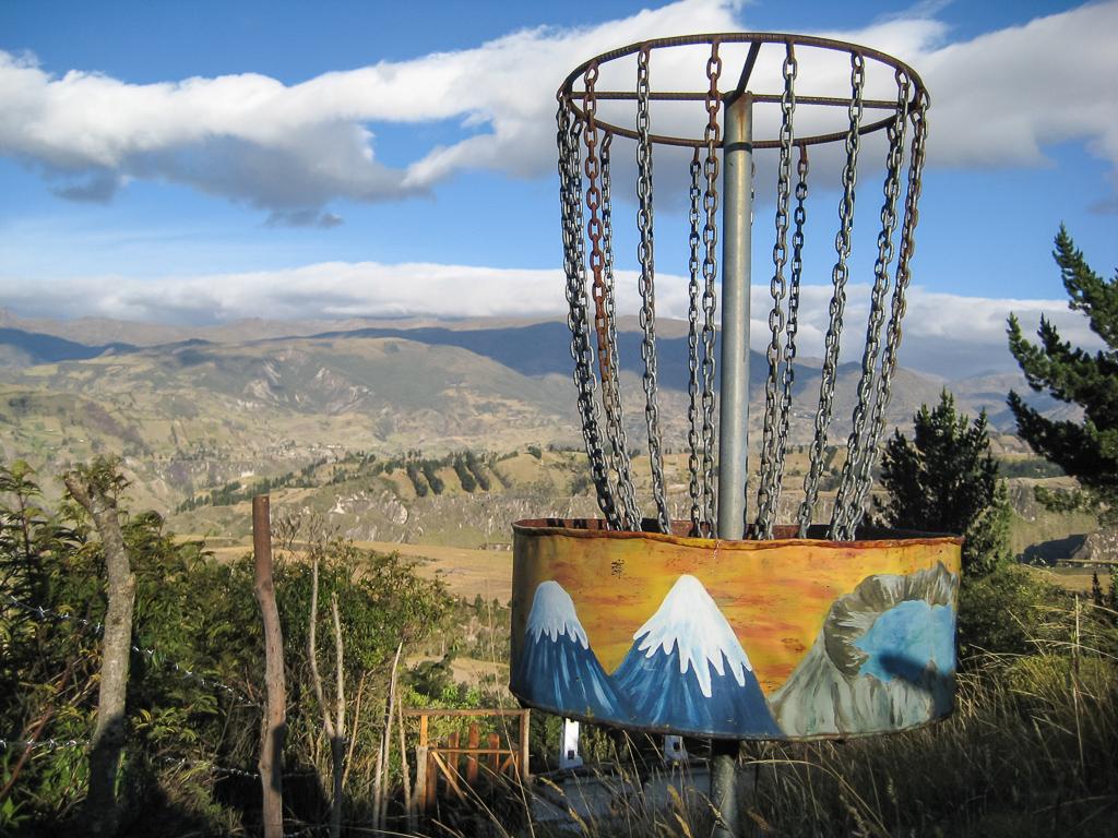 Custom basket on the disc golf course at the Black Sheep Inn.