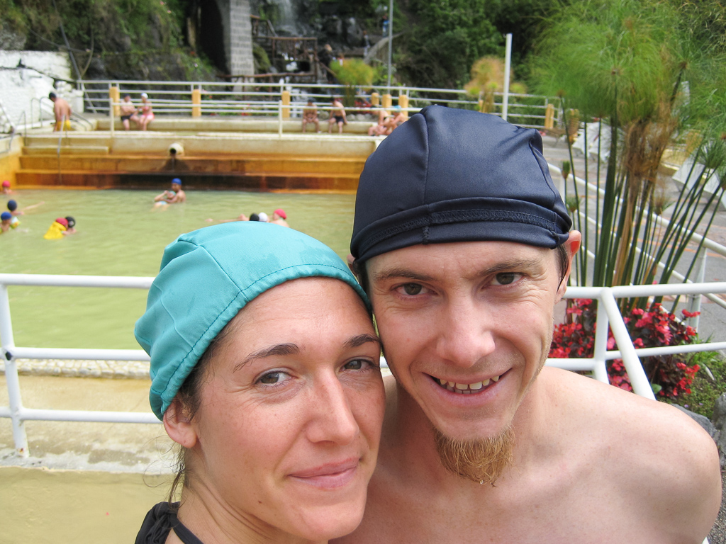 At the baños in Baños we were required to wear these awesome swim caps.